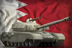 Carro armato pesante sui precedenti della bandiera nazionale del Bahrain illustrazione 3D illustrazione vettoriale