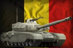 Carro armato pesante sui precedenti della bandiera nazionale del Belgio illustrazione 3D royalty illustrazione gratis