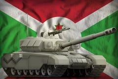 Carro armato pesante sui precedenti della bandiera nazionale del Burundi illustrazione 3D illustrazione di stock