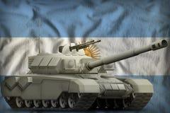 Carro armato pesante sui precedenti della bandiera nazionale dell'Argentina illustrazione 3D illustrazione vettoriale