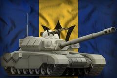 Carro armato pesante sui precedenti della bandiera nazionale delle Barbados illustrazione 3D royalty illustrazione gratis
