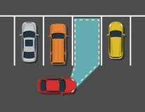 Carro autônomo que estaciona a vista superior Fotos de Stock