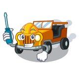 Carro automotivo dos desenhos animados do jipe na clemência dianteira ilustração stock