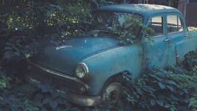 Carro azul soviético retro coberto de vegetação com a grama Carro clássico que oxida em um campo do ` s do fazendeiro foto de stock
