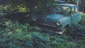 Carro azul soviético retro coberto de vegetação com a grama Carro clássico que oxida em um campo do ` s do fazendeiro fotos de stock royalty free