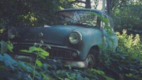 Carro azul soviético retro coberto de vegetação com a grama Carro clássico que oxida em um campo do ` s do fazendeiro fotos de stock