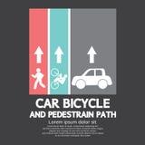 Carro, bicicleta e trajeto pedestre Fotografia de Stock Royalty Free