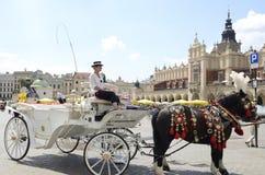Carro blanco en Kracov Fotografía de archivo libre de regalías