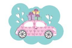 Carro bonito do estilo de Fusca com boxses do presente ilustração royalty free