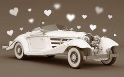 Carro branco com corações do amor - casamento Imagens de Stock