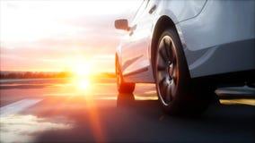 Carro branco luxuoso na estrada, estrada Condução muito rápida Por do sol de Wonderfull Conceito do curso e da motivação rendição ilustração royalty free