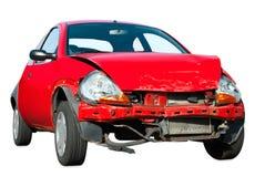 Carro causado um crash no fundo branco Fotografia de Stock Royalty Free