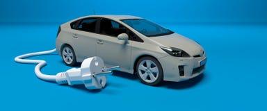 Carro cinzento com tomada elétrica ilustração stock