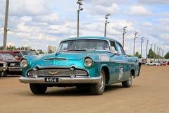Carro clássico de Desoto Firedome de turquesa em uma mostra Fotografia de Stock