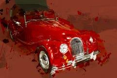 Carro clássico vermelho Ilustração tirada Foto de Stock Royalty Free