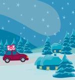 Carro com caixa de presente do Natal Foto de Stock Royalty Free