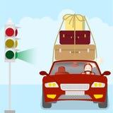 Carro com malas de viagem ilustração royalty free