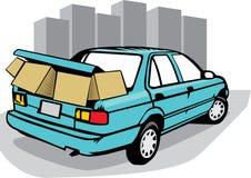 Carro com muitas caixas Foto de Stock Royalty Free