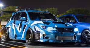 Carro com porta traseira feito sob encomenda da WTI de Subaru WRX da camuflagem azul imagem de stock royalty free