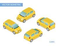 Carro com porta traseira isométrico amarelo Fotografia de Stock Royalty Free