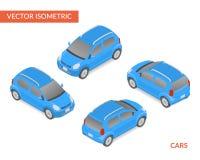Carro com porta traseira isométrico azul Imagem de Stock