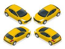 Carro com porta traseira isométrico Ilustração isométrica do vetor O grupo de objetos isolados contra o fundo da escrita e mostra Imagens de Stock Royalty Free