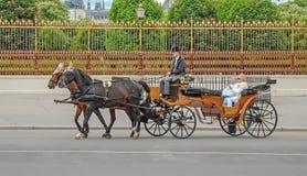 Carro con dos caballos Fotos de archivo libres de regalías