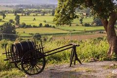 Carro con un barrilete del vino Imagen de archivo
