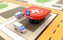 Carro da ambulância, hospital, heliporto Fotos de Stock