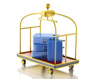 carro da bagagem 3d com malas de viagem azuis Fotografia de Stock