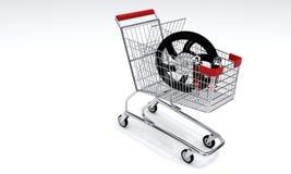 Carro da compra e velomotor, 3d Imagens de Stock