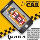 Carro da evacuação sob a forma de uma aplicação móvel Imagem de Stock Royalty Free