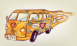 Carro da hippie, mini camionete Objeto isolado Conceito psicadélico da cópia ilustração stock