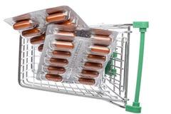 Carro da loja com cápsulas marrons em um bloco de bolha imagem de stock royalty free