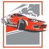 Carro da neutralização, esporte japonês da tração, JDM, ilustração do vetor