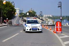 Carro da polícia Polícia de trânsito Tyumen, Rússia Fotos de Stock