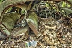 Carro da sucata nas madeiras Imagem de Stock