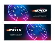Carro da velocidade da bandeira Projeto rápido do cartaz ou do inseto da ação do velocímetro ilustração stock