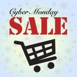 Carro da venda de segunda-feira do Cyber isolado no azul Imagem de Stock Royalty Free