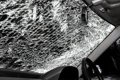Carro danificado do interior do vidro (para-brisa do carro) Imagem de Stock Royalty Free