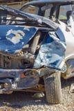 Carro danificado em um acidente de tráfico Destruição do acidente de viação - seguro c Fotografia de Stock