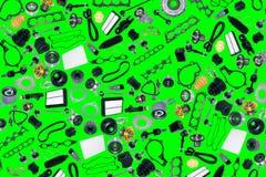 Carro das peças sobresselentes no fundo verde ilustração royalty free
