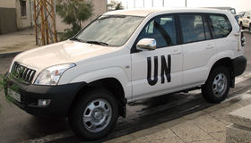 Carro das tropas de United Nations fotografia de stock royalty free