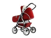 Carro de bebé moderno con la bóveda contra rojo de la lluvia y del viento con el wh imagen de archivo