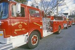 Carro de bombeiros de gancho e de escada, Dôvar, Delaware fotos de stock