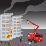 Carro de bombeiros e bombeiro vermelhos no uniforme firefighters Corpo dos bombeiros e equipe salvamento Ilustração do vetor Imagens de Stock