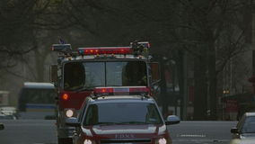 Carro de bombeiros em NYC Imagens de Stock