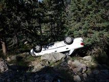 Carro de cabeça para baixo entre árvores Imagem de Stock Royalty Free