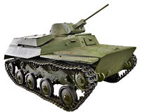 Carro de combate anfíbio pequeno soviético T-40 isolado Fotos de Stock Royalty Free