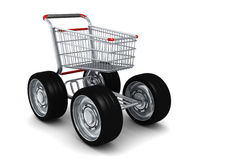 Carro de compra com as rodas grandes isoladas Foto de Stock Royalty Free
